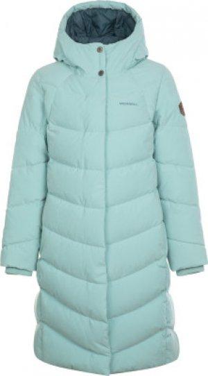 Пальто пуховое для девочек , размер 158 Merrell. Цвет: голубой