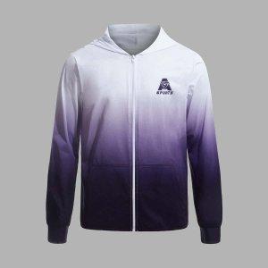 Мужской Спортивная куртка омбре и с текстовым принтом на молнии капюшоном SHEIN. Цвет: многоцветный