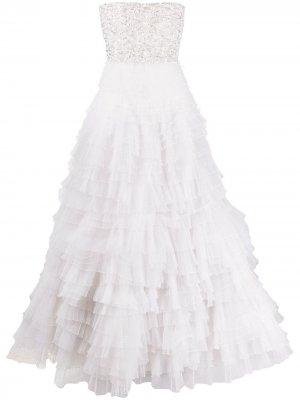 Свадебное платье с оборками Loulou. Цвет: белый