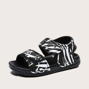 Спортивные сандалии с принтом граффити для девочек SHEIN. Цвет: чёрный