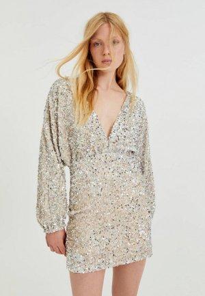 Платье Pull&Bear. Цвет: бежевый