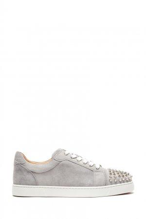 Серые замшевые кроссовки с шипами Vieira Spikes Christian Louboutin. Цвет: серый