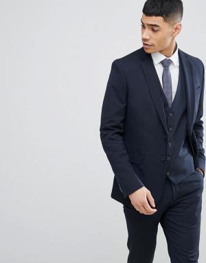 Темно-синий приталенный пиджак New Look