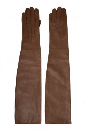 Бежевые кожаные перчатки Chapurin. Цвет: бежевый