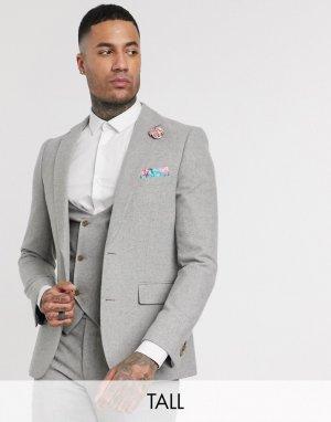 Твидовый пиджак узкого кроя Tall wedding-Серый Harry Brown