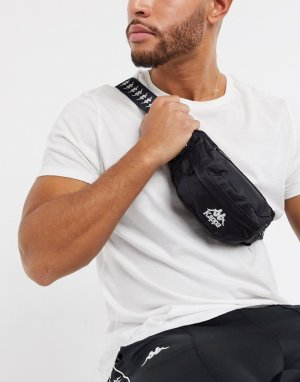 Черная сумка-кошелек на пояс с фирменной лентой 222 Banda Anais-Черный Kappa