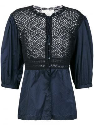 Блузка с кружевной вставкой Christian Dior Pre-Owned. Цвет: синий