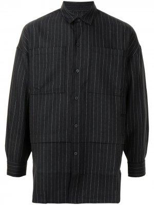 Полосатая рубашка с длинными рукавами Off Duty. Цвет: черный