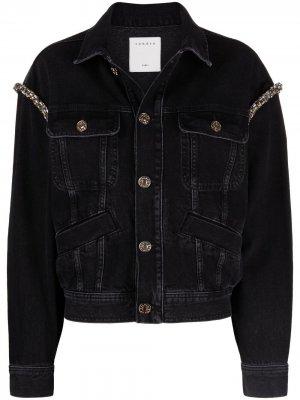 Джинсовая куртка с кристаллами Sandro Paris. Цвет: черный
