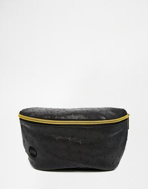 Сумка-кошелек на пояс с эффектом кожи страуса Mi-Pac. Цвет: черный