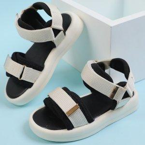 Спортивные сандалии на липучке для девочек SHEIN. Цвет: бежевые