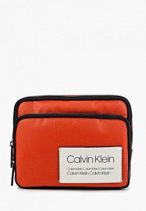 Сумка поясная Calvin Klein Jeans. Цвет: оранжевый