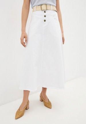 Юбка джинсовая Francesco Donni. Цвет: белый