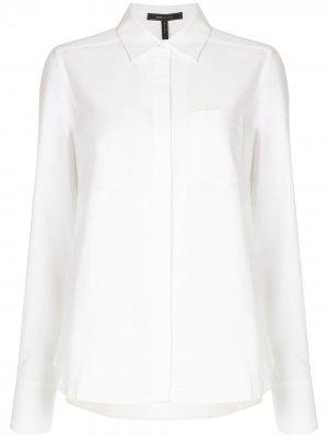 Рубашка с длинными рукавами и нагрудным карманом BCBG Max Azria. Цвет: белый