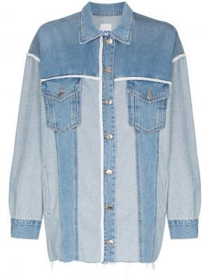 Джинсовая куртка с контрастной окантовкой SJYP. Цвет: синий