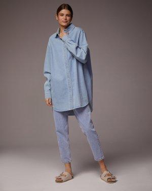 Джинсовое платье-рубашка 12STOREEZ. Цвет: голубой
