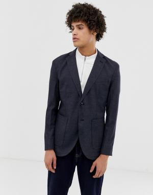 Приталенный блейзер с накладными карманами premium-Темно-синий Jack & Jones