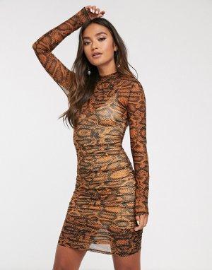 Облегающее платье мини со змеиным принтом bel air-Бежевый Finders Keepers