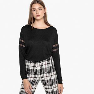 Пуловер с круглым вырезом из тонкого трикотажа, кружевом MIXTY SUD EXPRESS. Цвет: черный