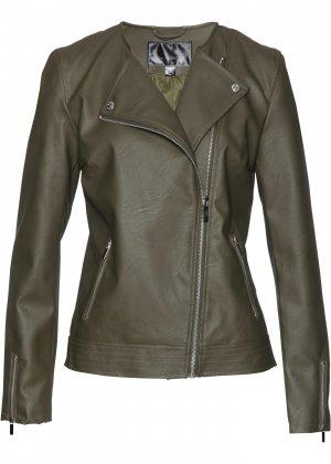 Куртка байкерская из кожезаменителя bonprix. Цвет: зеленый