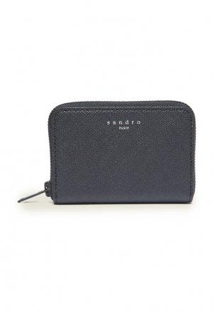 Черный кошелек из фактурной кожи Sandro. Цвет: черный