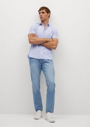Приталенная рубашка с короткими рукавами - Doti-h Mango. Цвет: небесно-голубой