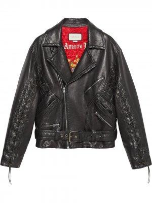 Кожаная куртка с принтом грибов и логотипа Gucci. Цвет: черный