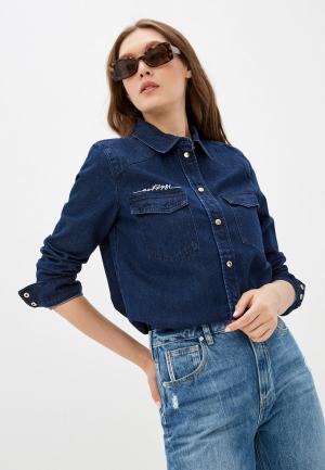 Рубашка джинсовая Guess Jeans. Цвет: синий