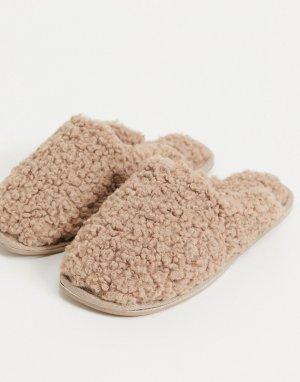 Бежевые слиперы с закрытым носком из искусственного меха Zuri-Бежевый ASOS DESIGN