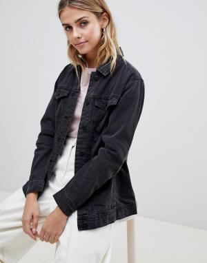Джинсовая oversize-куртка Ashley JDY. Цвет: серый