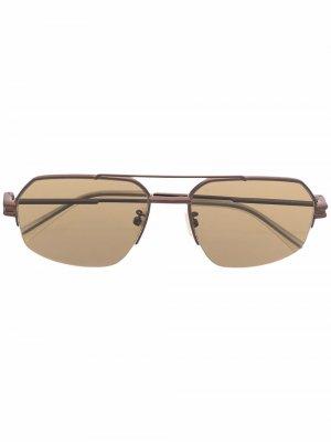 Солнцезащитные очки-авиаторы Bottega Veneta Eyewear. Цвет: коричневый