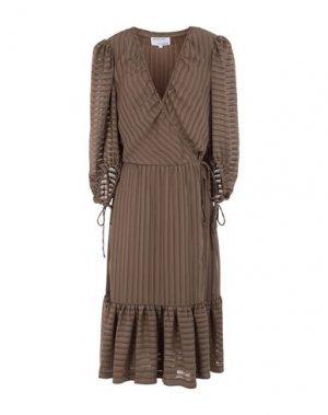 Платье длиной 3/4 DESIGNERS, REMIX. Цвет: хаки