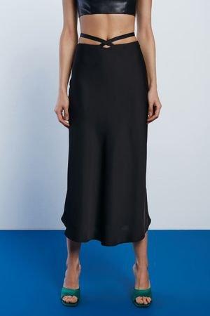 Атласная юбка с завязками на талии LOVE REPUBLIC