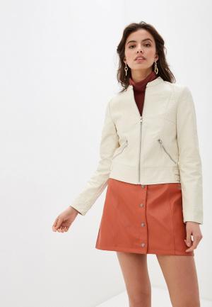 Куртка кожаная Vero Moda. Цвет: бежевый