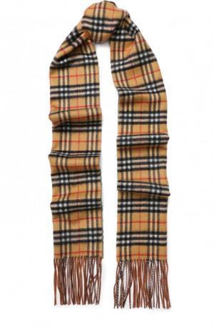Кашемировый шарф в клетку с бахромой Burberry. Цвет: зеленый