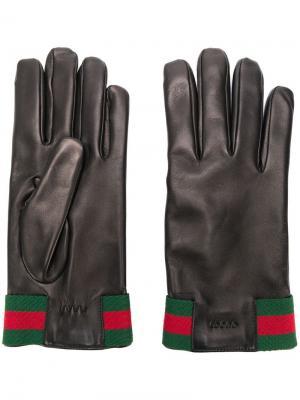 Leather gloves with Web Gucci. Цвет: черный