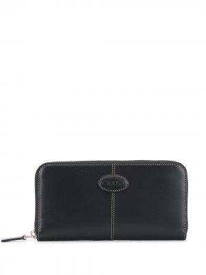 Tods кошелек на молнии с логотипом Tod's. Цвет: черный