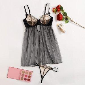 Вышивка Небольшие точки Романтический Сексуально-женское белье SHEIN. Цвет: чёрный