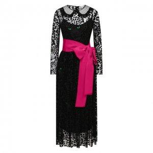 Платье-миди REDVALENTINO. Цвет: чёрный