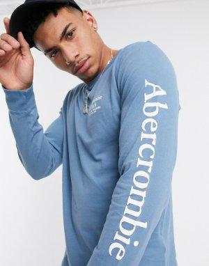 Голубой лонгслив с логотипом на рукаве и груди -Синий Abercrombie & Fitch