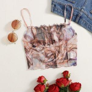 Большой слинг-топ из мраморной сетки с оборками на груди SHEIN. Цвет: многоцветный