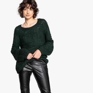 Пуловер с круглым вырезом из плотного трикотажа LPB WOMAN. Цвет: темно-зеленый