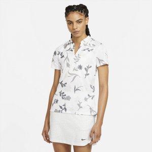 Женская рубашка-поло с принтом для гольфа Breathe - Белый Nike