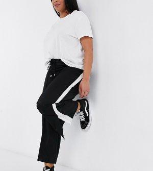 Расклешенные широкие брюки с белой полосой -Черный цвет Brave Soul Plus