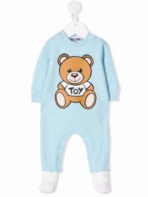 Teddy Bear long-sleeve pajamas Moschino Kids. Цвет: синий
