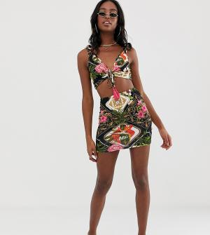 cd850cdc37bce Пляжная юбка из трикотажа с присборенной вставкой и темным тропическим  принтом ASOS DESIGN Tall. Цвет