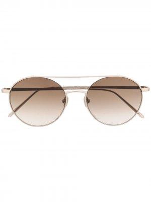 Солнцезащитные очки 1031-C4 в круглой оправе Linda Farrow. Цвет: золотистый