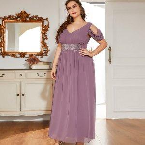Размера плюс Вечернее платье с цветочной вышивкой открытыми плечами SHEIN. Цвет: пыльный фиолетовый