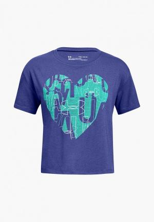 Футболка спортивная Under Armour UA Hearts Logo SS Tee. Цвет: фиолетовый
