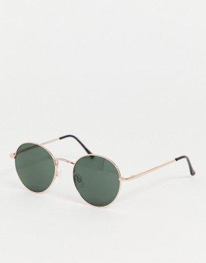 Золотистые круглые солнцезащитные очки -Золотистый AJ Morgan